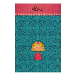 Personalized name princess blue victorian damask cork paper print