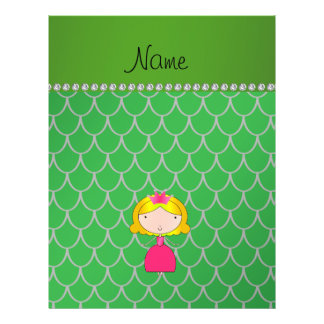 Personalized name princess green dragon scales 21.5 cm x 28 cm flyer