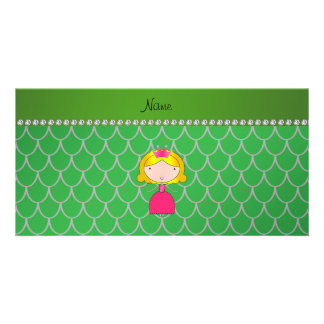 Personalized name princess green dragon scales picture card