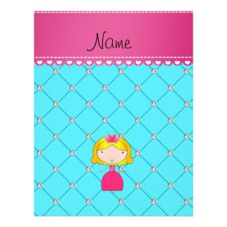 Personalized name princess light blue diamonds custom flyer