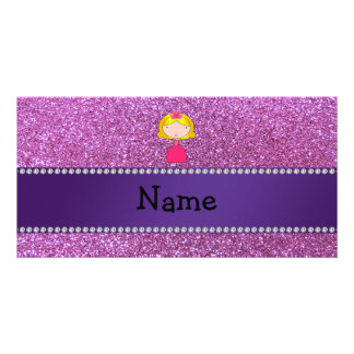 Personalized name princess pastel purple glitter photo greeting card