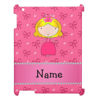 Personalized name princess pink bows and diamonds cover for the iPad