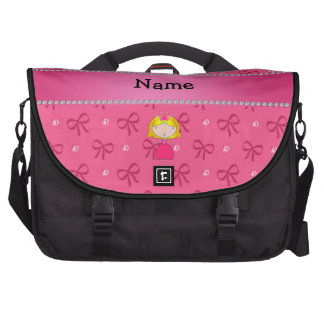 Personalized name princess pink bows and diamonds commuter bags