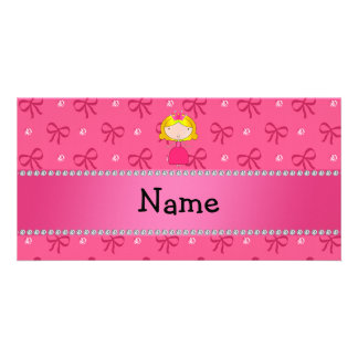 Personalized name princess pink bows and diamonds personalized photo card