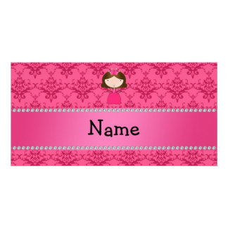 Personalized name princess pink damask photo card
