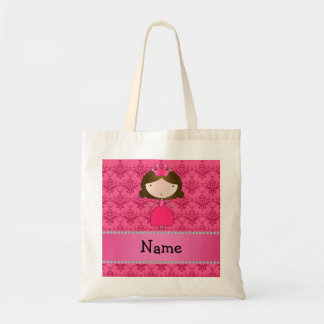 Personalized name princess pink damask tote bag