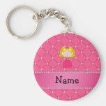 Personalized name princess pink diamonds keychains