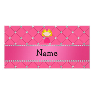 Personalized name princess pink diamonds picture card