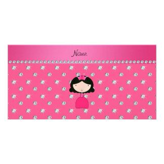Personalized name princess pink diamonds customised photo card