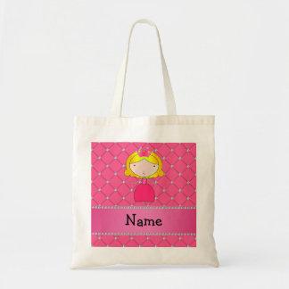 Personalized name princess pink diamonds tote bag
