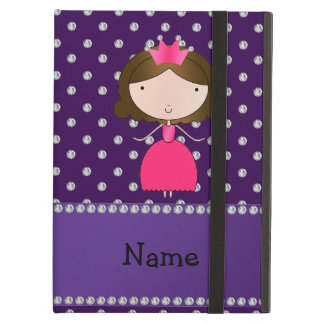 Personalized name princess purple diamonds iPad air cover