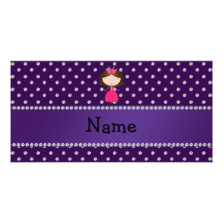 Personalized name princess purple diamonds customised photo card