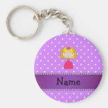 Personalized name princess purple polka dots keychain