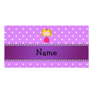 Personalized name princess purple polka dots picture card