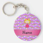 Personalized name princess purple rainbows keychain