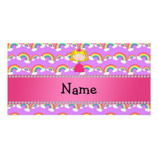 Personalized name princess purple rainbows personalized photo card