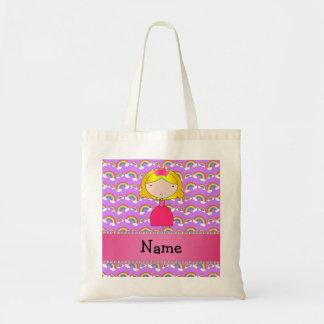 Personalized name princess purple rainbows tote bag