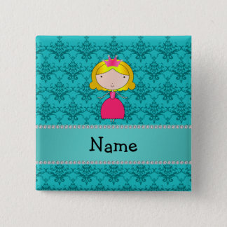 Personalized name princess turquoise damask 15 cm square badge