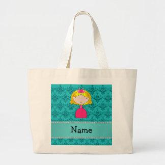 Personalized name princess turquoise damask large tote bag