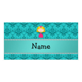 Personalized name princess turquoise damask picture card
