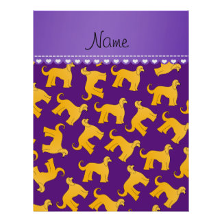 Personalized name purple afghan hound dogs 21.5 cm x 28 cm flyer