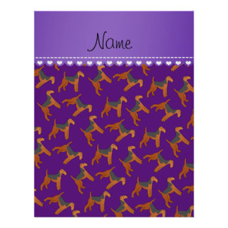 Personalized name purple airedale terriers dogs 21.5 cm x 28 cm flyer