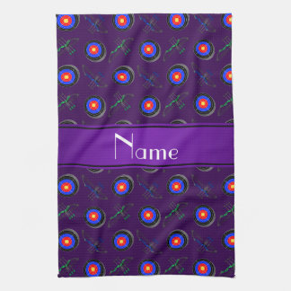 Personalized name purple archery tea towel