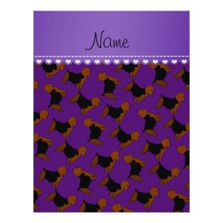Personalized name purple australian terrier dogs 21.5 cm x 28 cm flyer