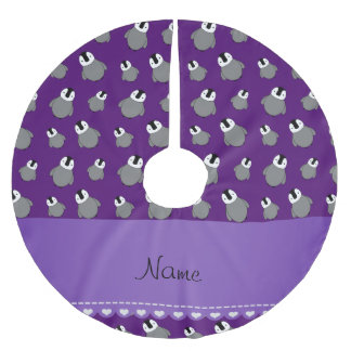 Personalized name purple baby penguins brushed polyester tree skirt