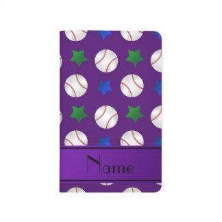 Personalized name purple baseball blue green stars journal