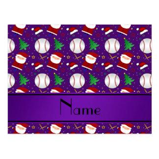 Personalized name purple baseball christmas postcards