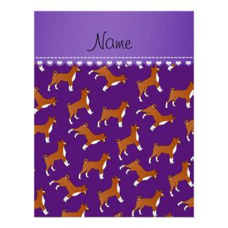 Personalized name purple basenji dogs 21.5 cm x 28 cm flyer