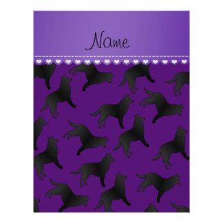 Personalized name purple belgian sheepdog 21.5 cm x 28 cm flyer