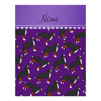 Personalized name purple Bernese Mountain dogs 21.5 Cm X 28 Cm Flyer