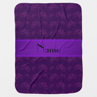 Personalized name purple bicycles baby blanket