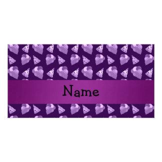 Personalized name purple birthday pattern custom photo card