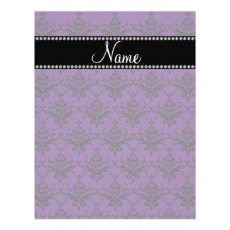 Personalized name Purple black damask Flyer Design