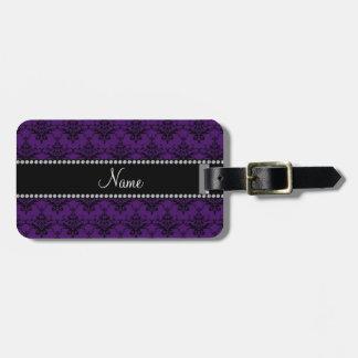 Personalized name Purple black damask Travel Bag Tag