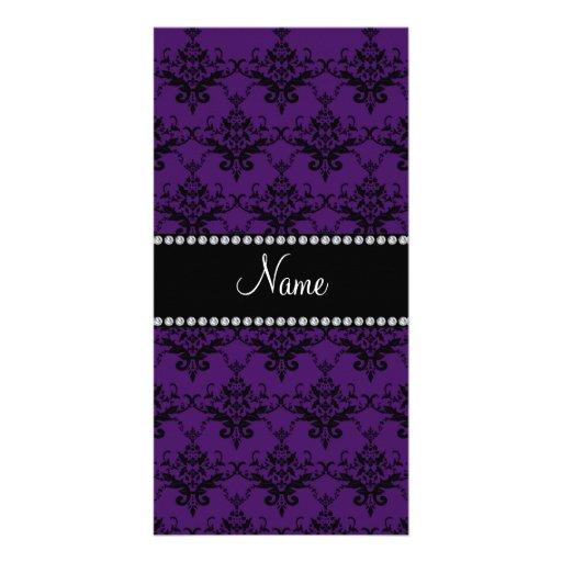 Personalized name Purple black damask Photo Cards