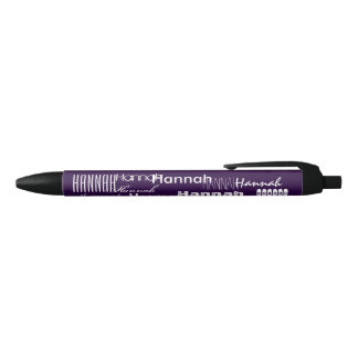 Personalized Name Purple Black Ink Pen