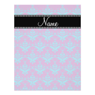 Personalized name Purple blue damask Personalized Flyer