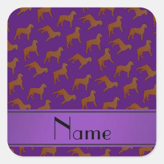 Personalized name purple Bouvier des Flandres dogs Square Sticker