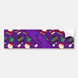 Personalized name purple bowling christmas pattern bumper stickers