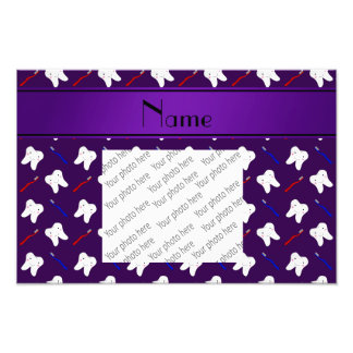Personalized name purple brushes and tooth pattern photo
