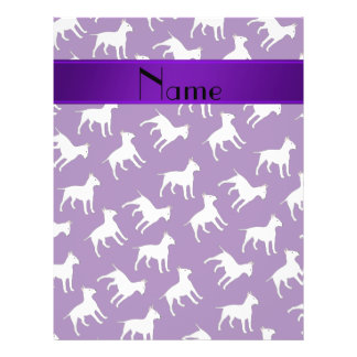 Personalized name purple bull terrier dogs 21.5 cm x 28 cm flyer