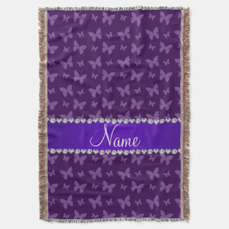 Personalized name purple butterflies throw blanket