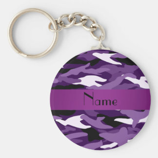 Personalized name purple camouflage basic round button key ring
