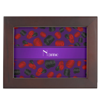 Personalized name purple checkers game keepsake boxes