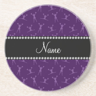 Personalized name purple cheerleader pattern coaster