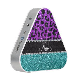 Personalized name purple cheetah turquoise glitter bluetooth speaker